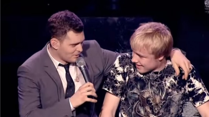 Michael Buble duets with 15 year old boy