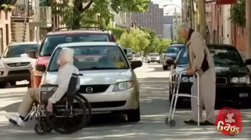 Old people crossing the road